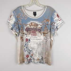 Vintage | All Over Print Couture Creme Tee-A3